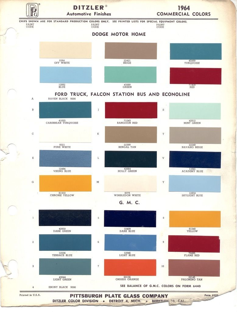 Paint Chips 1964 Truck Fleet Commercial Automotive Paint Paint Charts Painting
