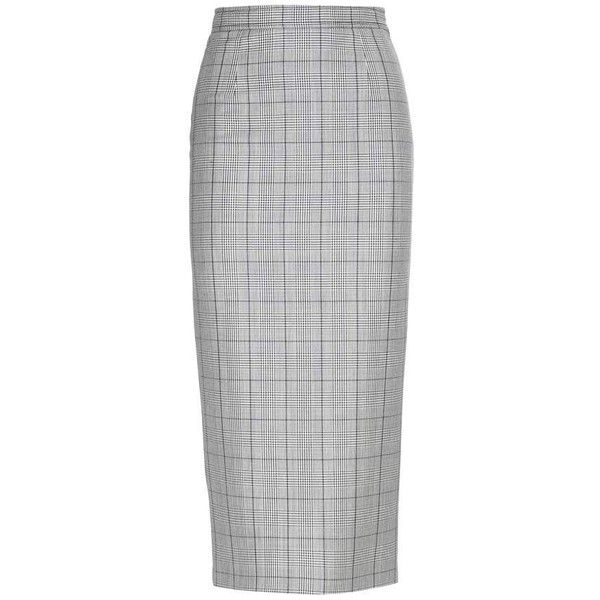 Miu Miu Check Wool and Mohair Pencil Skirt (€625) ❤ liked on Polyvore featuring skirts, miu miu, blue, knee length pencil skirt, checkerboard skirt, woolen skirt, wool pencil skirt and wool skirts