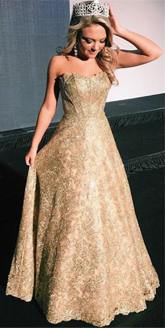 A Line Strapless Floor Length Gold Lace Evening Prom Dress