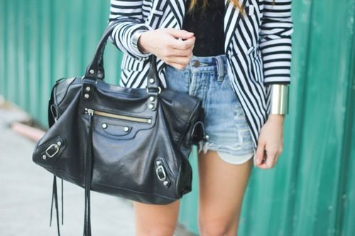 #stripe #blaxer denim shorts and bag