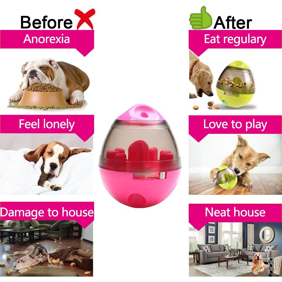 Tumbler Food Feeder Treat Ball Dog Toy For Pet Increases Iq Interactive Food Dispensing Ball Dog Treat Dispenser Dog Treat Dispenser Dog Treats Treat Dispenser