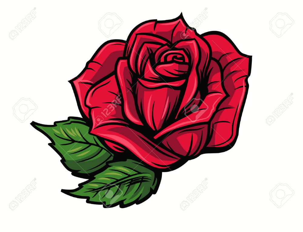 Red Rose Cartoon Style On White Background Cartoon Rose Rose Tattoos For Men Red Rose Tattoo