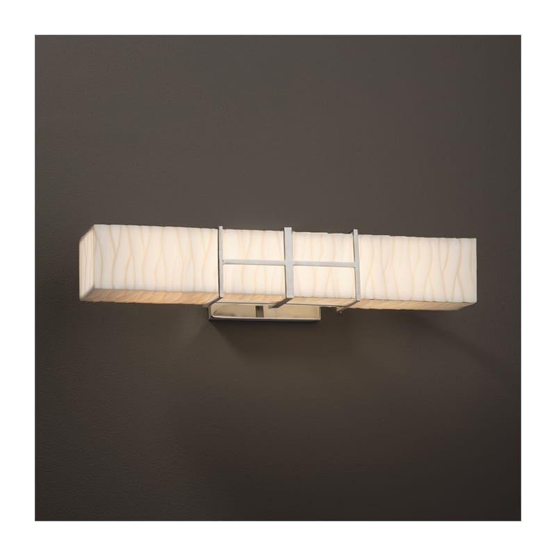 """Photo of Justice Design Group PNA-8640-WAVE Porcelina 21.5 """"Structure Single Light LED Ba Brushed Nickel Indoor Lighting Bathroom Fixtures Vanity Light"""