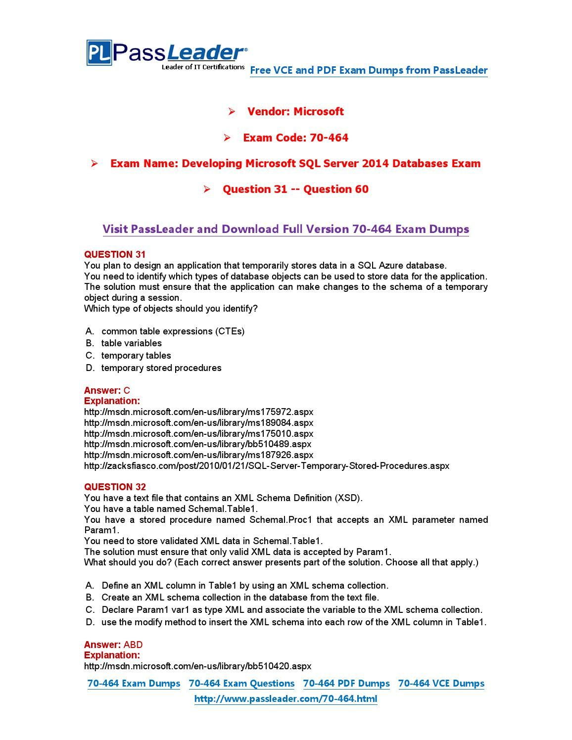 70-464 Exam Dumps with PDF and VCE Download (31-60) | 70-464