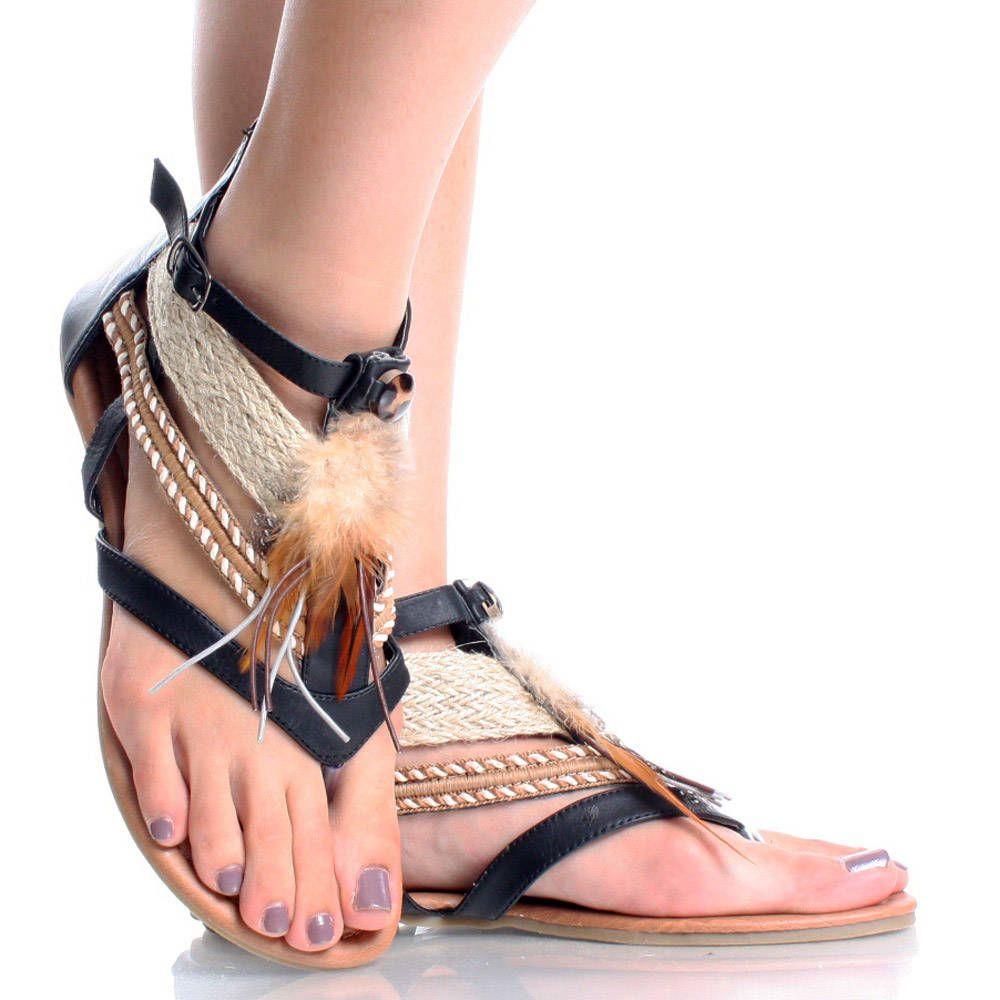 abd19eb7390 Black Tribal Feather Boho Open Toe Gladiator Sandal