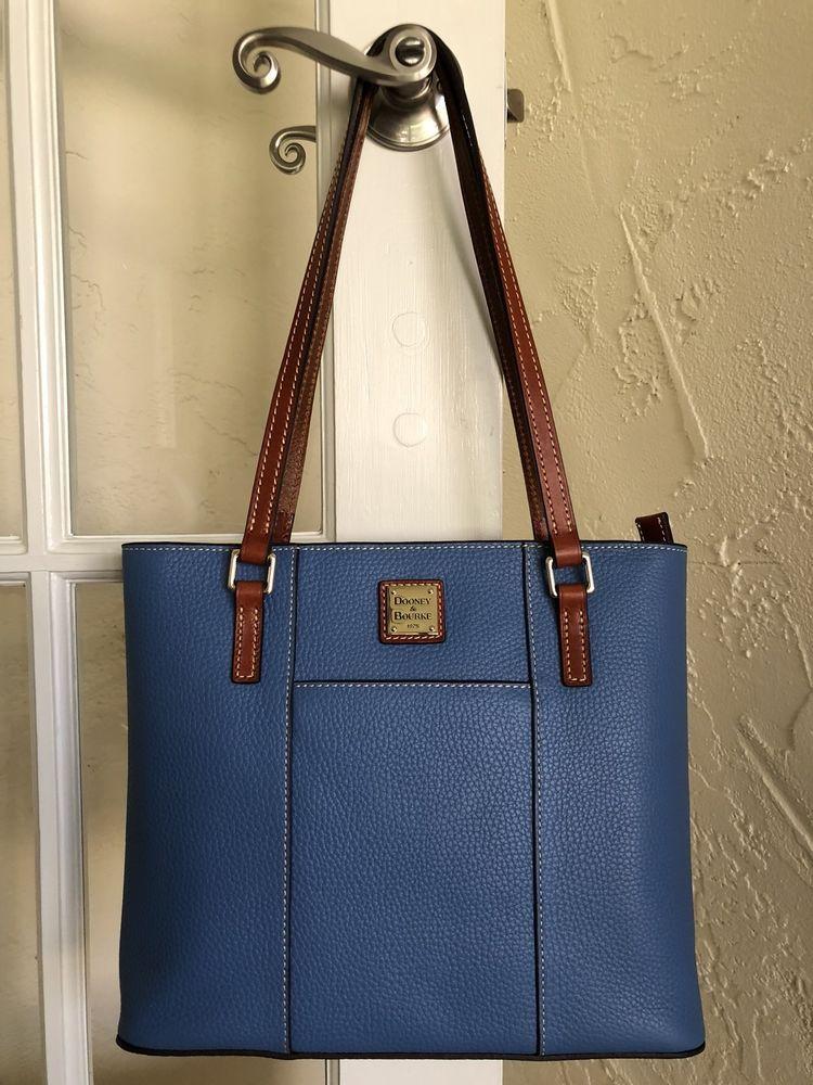 b6bb9c53fed2 Dooney   Bourke Pebble Leather Small Lexington Tote Azure Blue 799344669041