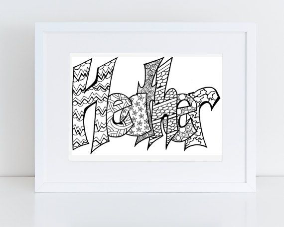 Printable Name Coloring Pages For Kids And Grown Ups By StevieDoodles