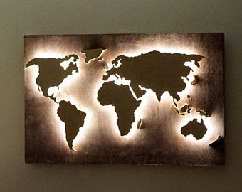LED World Map Of Wood, World Map Hanging, World Map Wall, World Map