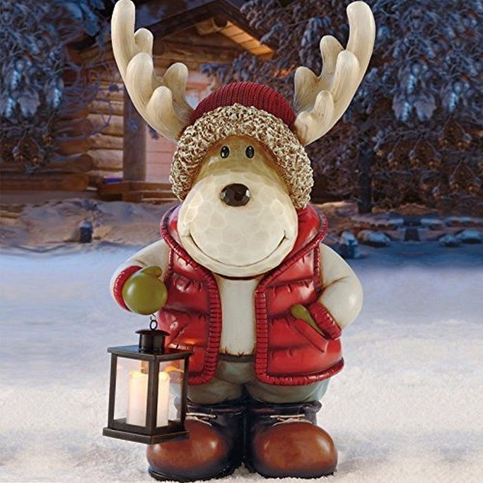 Decorative Original Moose Alce with LED Lantern for Indoor or