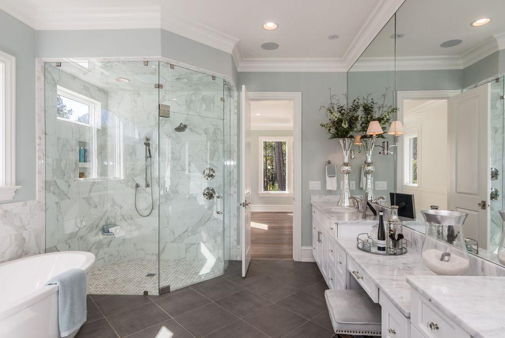 Traditional Master Bathroom With Slate Tile Floors Complex Marble Counters Undermount Sink Free Luxury Master Bathrooms Corner Shower Master Bathroom Design