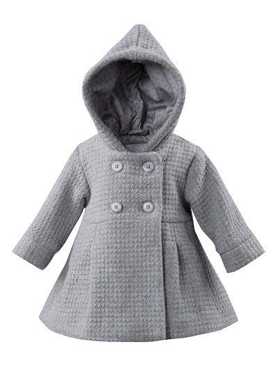 1aa30421e Abrigo de paño de lana bebé niña 3 meses a 3 años GRIS OSCURO JASPEADO+GRIS  MEDIO JASPEADO+GRIS MEDIO LISO+ROSA FUERTE LISO