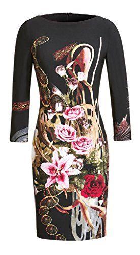 Joseph Ribkoff Black, Red & Pink Floral Rose Print 3/4 Sleeve Dress ...