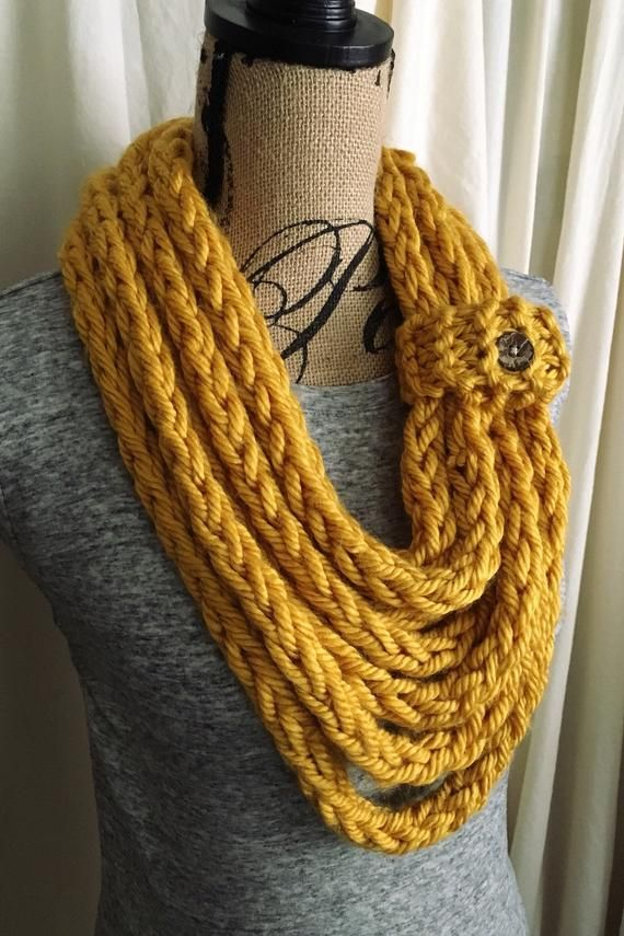 Photo of Mustard Yellow Handmade Knit Scarf | Chunky Infinity Scarf