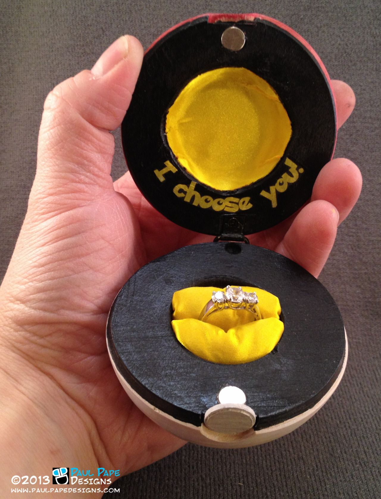 Pokémon Pokéball Wooden Custom Engagement Ring Box