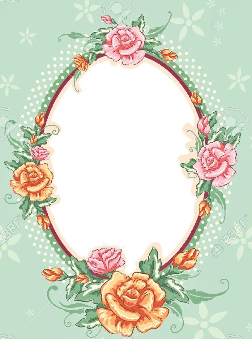 Printable frames, Floral drawing, Scrapbook materials