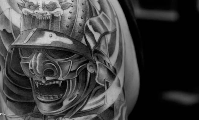 samurai mask tattoo best 3d tattoo ideas pinterest. Black Bedroom Furniture Sets. Home Design Ideas