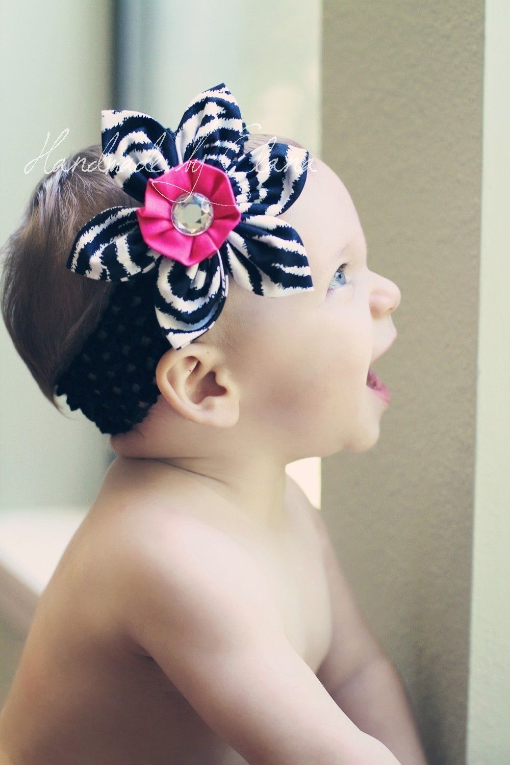 Zebra And Hot Pink Fabric Flower Headband By
