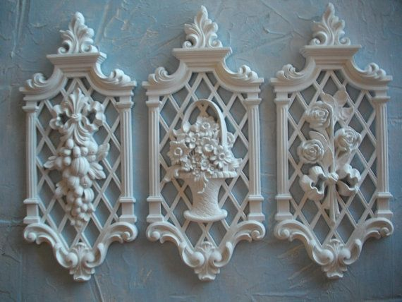 Syroco Recycled Shabby Chic White Resin Wall Decor Plaques