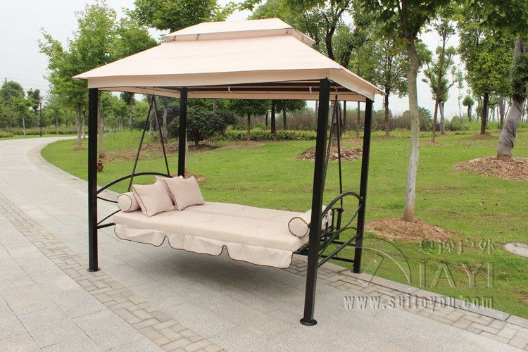 Outdoor 3 Person Patio Daybed Canopy Gazebo Swing Tan W Mesh Walls Hammock