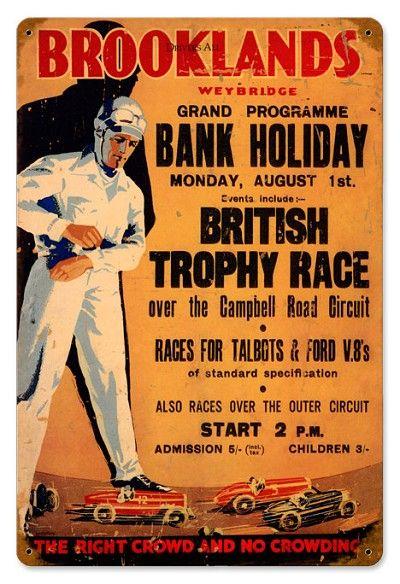 Vintage Brooklands British Motor Race Poster A3 Reprint