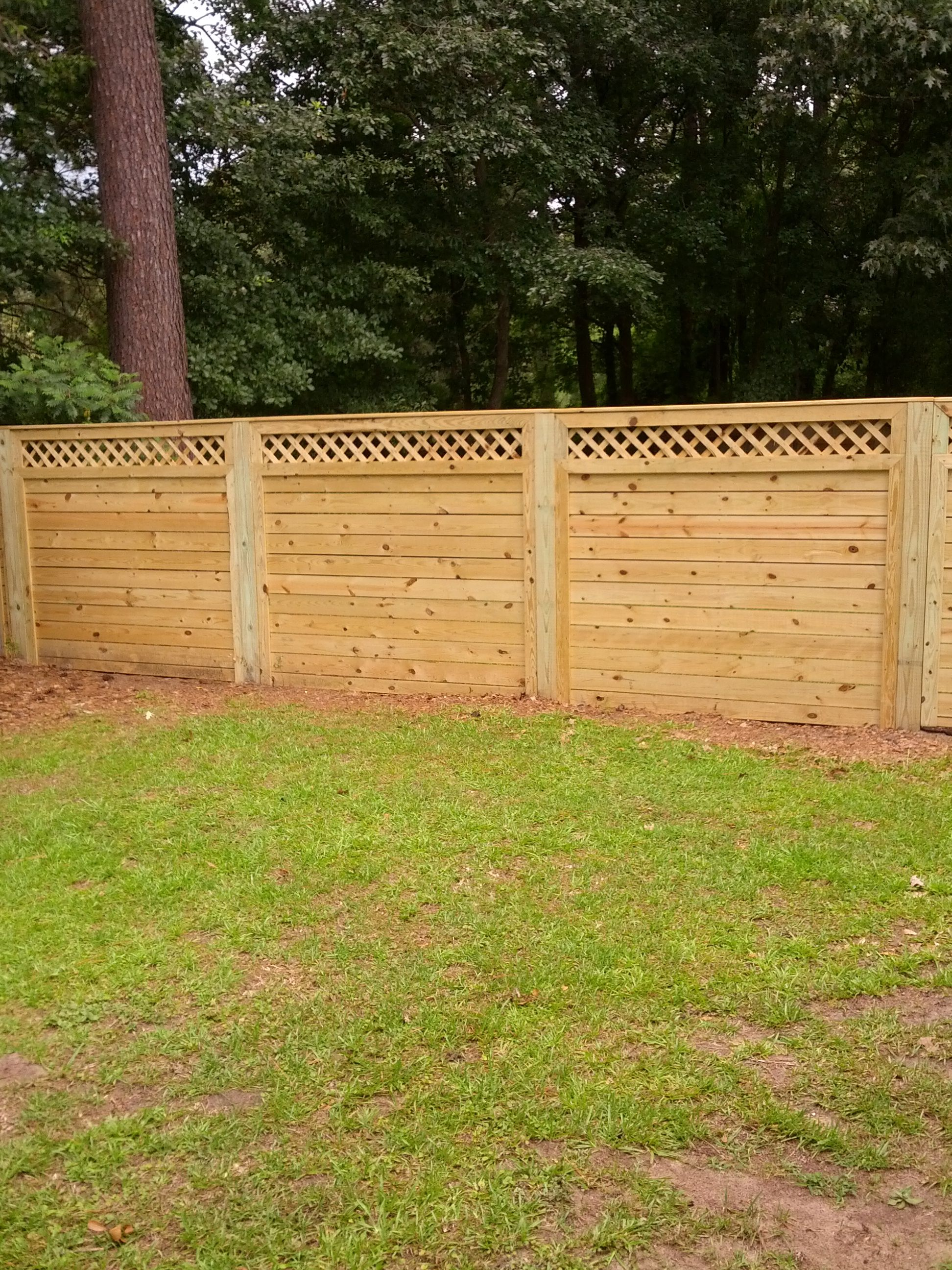 6\' tall horizontal picket fence with lattice | landscaping ...