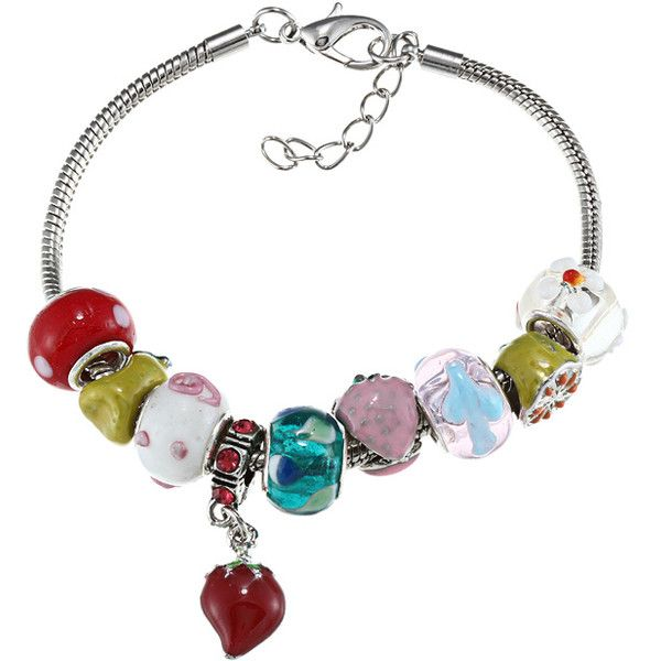 La Preciosa Silvertone Fruit Theme Strawberry Charm Bracelet ($18) ❤ liked on Polyvore featuring jewelry, bracelets, rainbow jewelry, charm bracelet, charm bracelet jewelry, silver tone jewelry and chain bracelet
