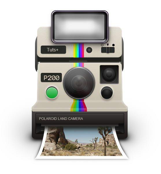 Photoshop tuto. How To Draw a Vintage Polaroid Camera Icon ...