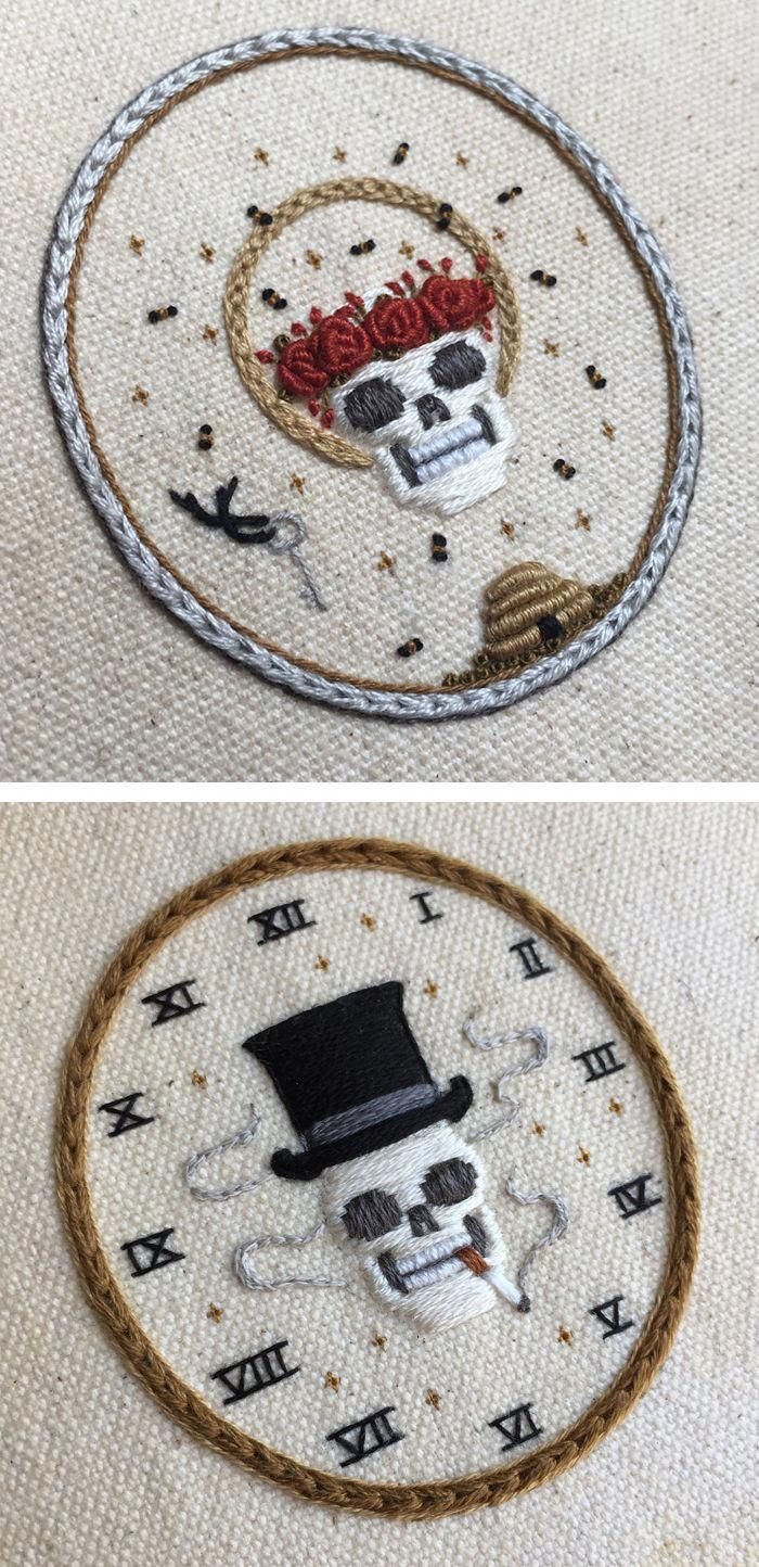Skeleton Embroideries by Tinycup Needleworks #embroiderypatterns ...