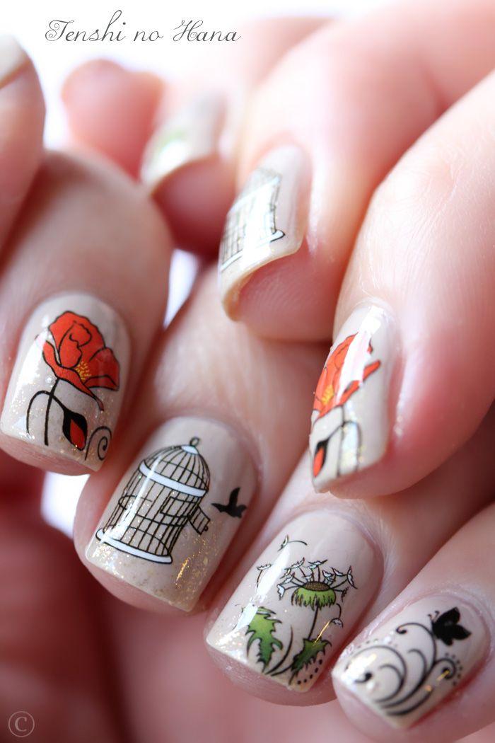 Water Decals Nature Nails Nature Nails Nail Art By Tenshi No Hana