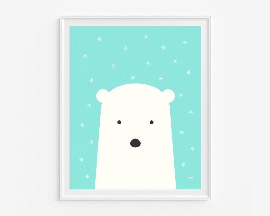 Polar Bear Nursery Wall Art Printable Aqua And White Kids Room Decor Snow Instant 8x10 In Digital Pdf File A 266 By Delierrekids On