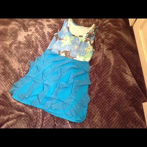 Justice blue dress size small (7-8) Justice blue dress with sequence and Ruffles on skirt. No holes or stains. Justice Dresses Mini