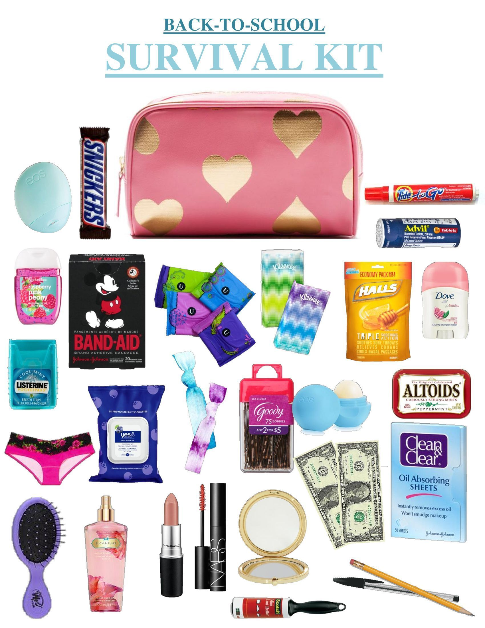 Some little goodies that ALL high school girls should keep in their locker or backpack. This kit is PERFECT for Back To School. The items in here range from pens and pencils to cute Mickey Mouse band-aids, all things that could be a complete lifesaver. Hope you enjoy your own DIY emergency/survival kit! #survivalschool #backtoschool