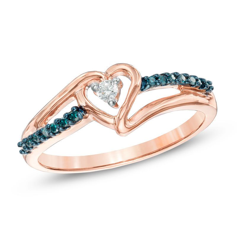 1 10 Ct T W Enhanced Blue And White Diamond Heart Promise Ring In 10k Rose Gold Zales Heart Promise Rings Rose Gold Engagement Ring Vintage Promise Rings