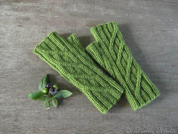 Green fingerless gloves hand knit geometric rib mitts by Otruta