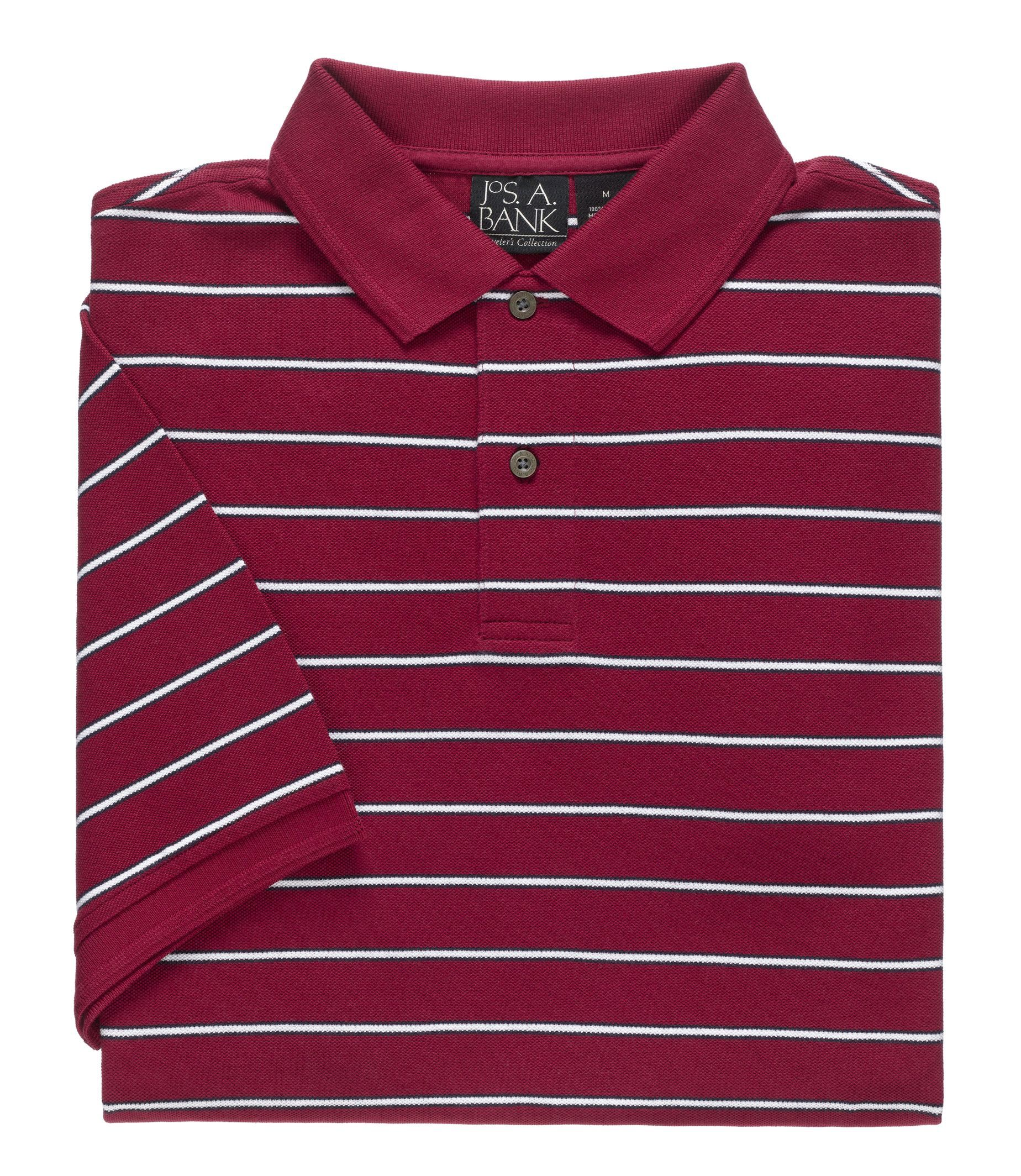 Traveler Collection Traditional Fit Short-Sleeve Stripe Polo CLEARANCE