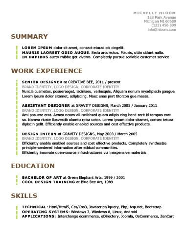 Chronological Resume by Hloom Helpful Hints Pinterest - reverse chronological resume