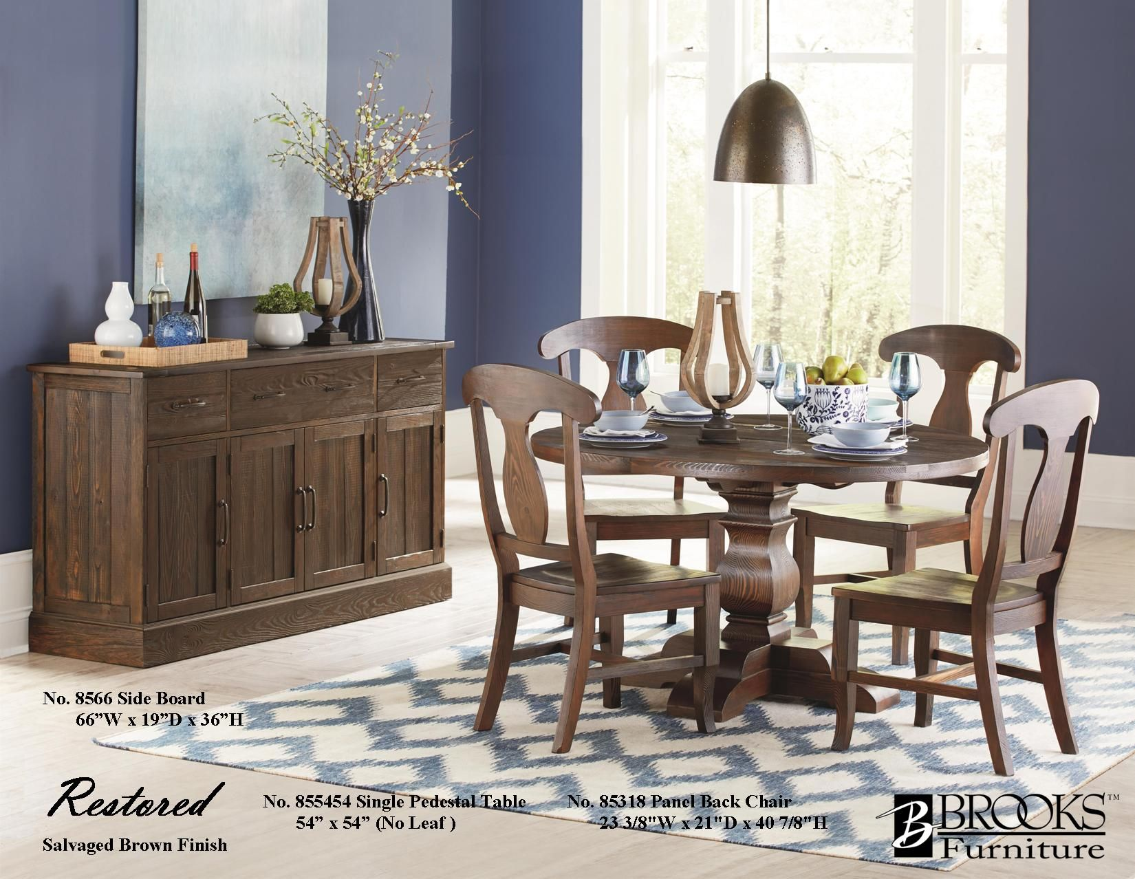 "Salvaged Brown Solid Pine 855454 54"" Round Single Pedestal Table Classy Single Dining Room Chair Design Ideas"