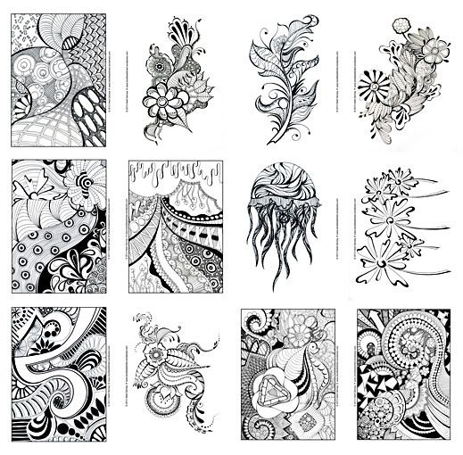 Doodle libro para colorear de arte para adultos arte sharpie ...