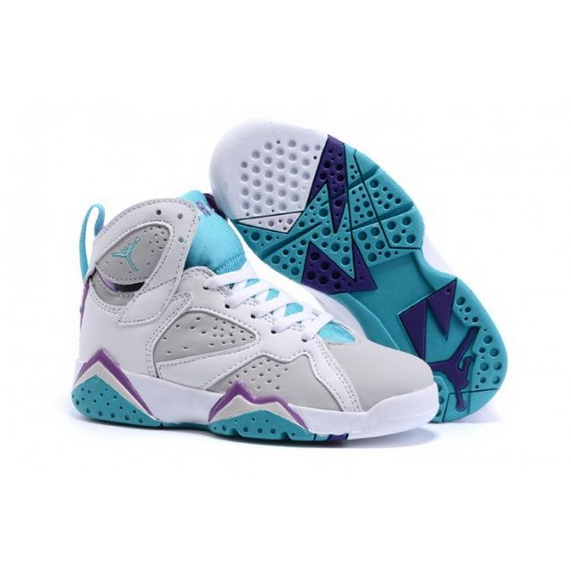 084962b5e08922 Kids Nike Air Jordan Retro 7 White Blue Purple
