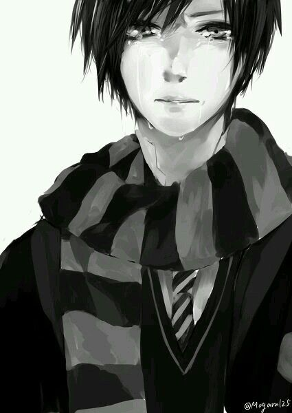 Anime crying, sad boy with black hair. Black and white