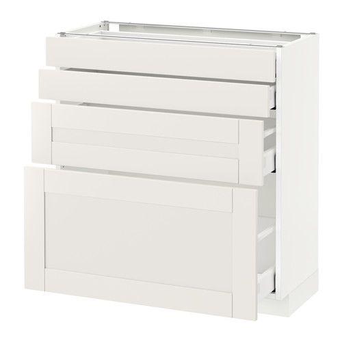 METOD / MAXIMERA Élt bas 4 faces/4 tiroirs - blanc, 80x37 cm
