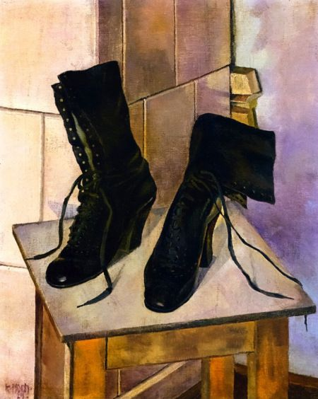 Still Life with Boots -  Kate Höch 1927  German 1873-1933  oil on canvas. 55.5 cm (21.85 in.),44.5 cm (17.52 in.)
