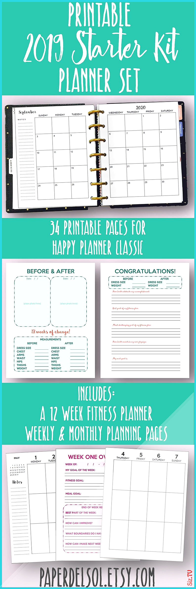 Happy Planner 2020 Weight Loss 038 Fitness Planner Printable 2020 Planner Weekly Printable Monthly I...