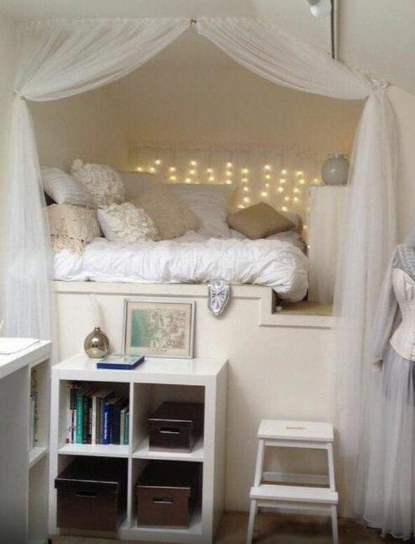 Jugendzimmer einrichten kleines-zimmer mädchen  jugendzimmer einrichten einbaubett zurückgezogenheit offener ...