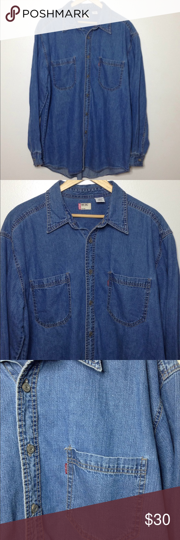 370f161fbc3 Levi s men red tab denim jean button shirt Large L Very good used  condition. Levi s Shirts Casual Button Down Shirts