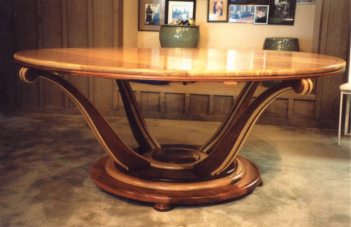 SOLD $1400 vintage antique exotic wood round dining table c 1930