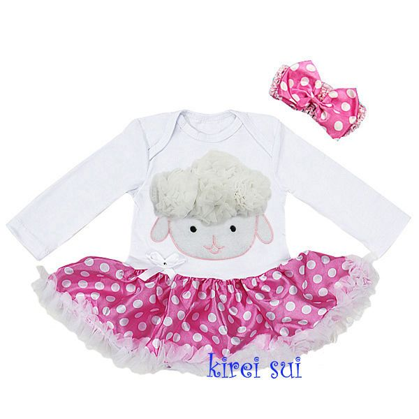 Easter Sheep Baby Polka Dots Pink Minnie Mouse Party Dress Bodysuit Romper Tutu