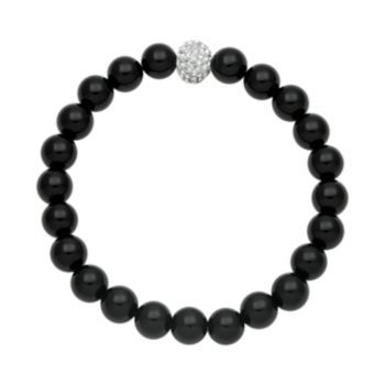 Onyx+Bead+&+Simulated+Crystal+Stretch+Bracelet