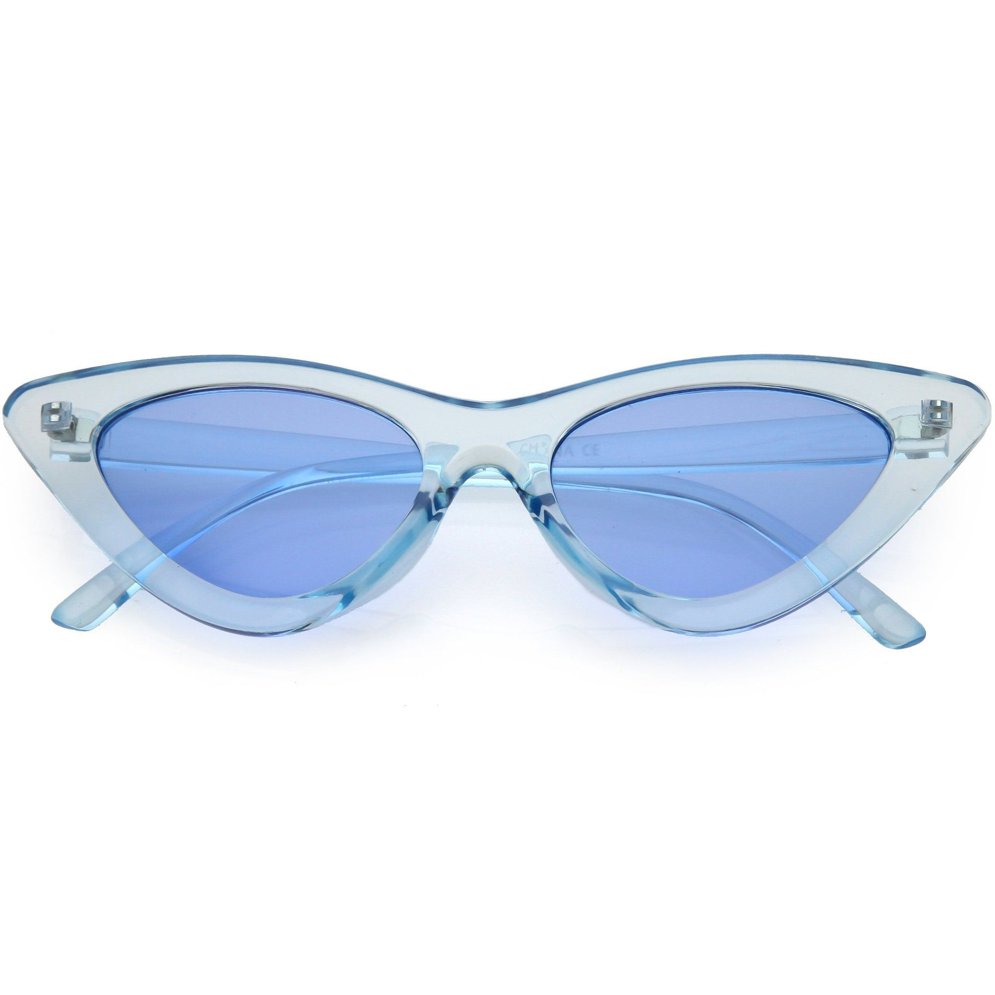 Women's Retro 1990's Narrow Flat Color Tone Lens Cat Eye Sunglasses - zeroUV