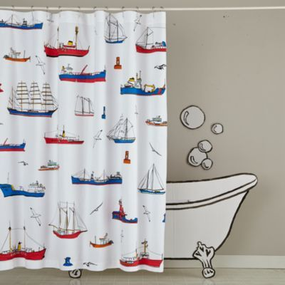 Maritime Shower Curtain The Land Of Nod Cool Shower Curtains Nautical Shower Curtains Curtains